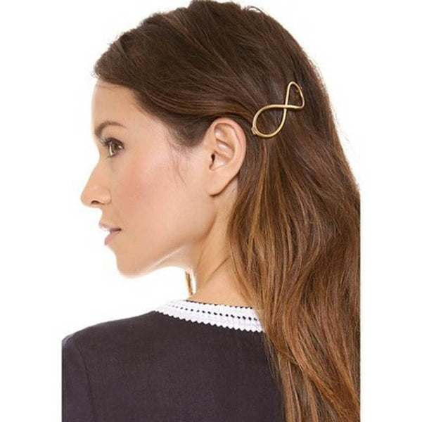 FAMSHIN Stylish 1Pcs Women Infinity Gold Barrette Hairpin Hair Clip Hair accessories Headband Perfect Gift for lady