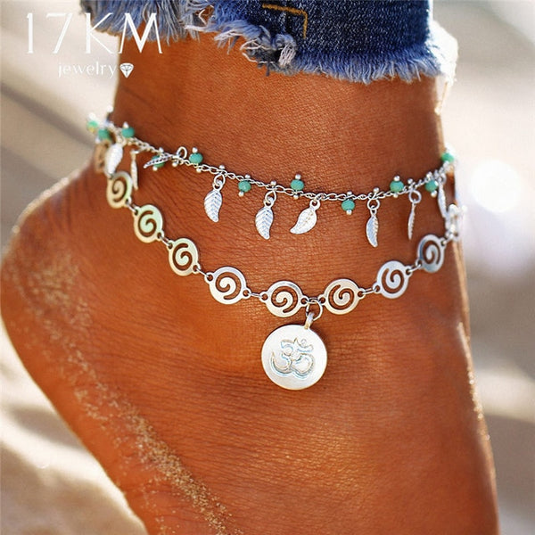 17KM Design Double Layer Pendant Anklet For Woman 2018 New Geometric Bracelet Charm Bohemian Anklets Jewelry Summer Party Gift