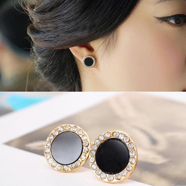 2016 New Fashion Pendientes Fine Jewelry Allergy Friendly Stud Earrings Rhinestone Round Earrings For Women Free shipping