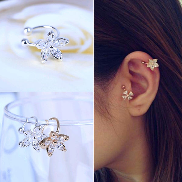 FAMSHIN 2016 New Hot 1PCS Women's Fashion Cz Crystal Flower U Shape Ear Cuff Clip-on No Piercing Earring