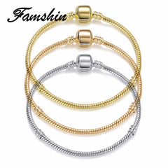 FAMSHIN 2018 Hot Gold Silver Rose Gold Color & Silver Snake Chain Bracelets DIY Bracelet Jewelry Gift For Men Women 18CM-20CM