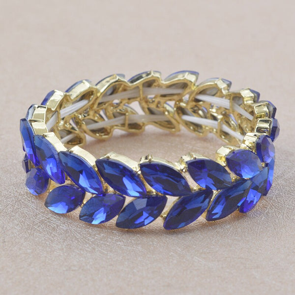 Blue color Crystal Bangle for women man elastic thread bracelet  hand bracelets wedding party show bracelet Jewelry accessories