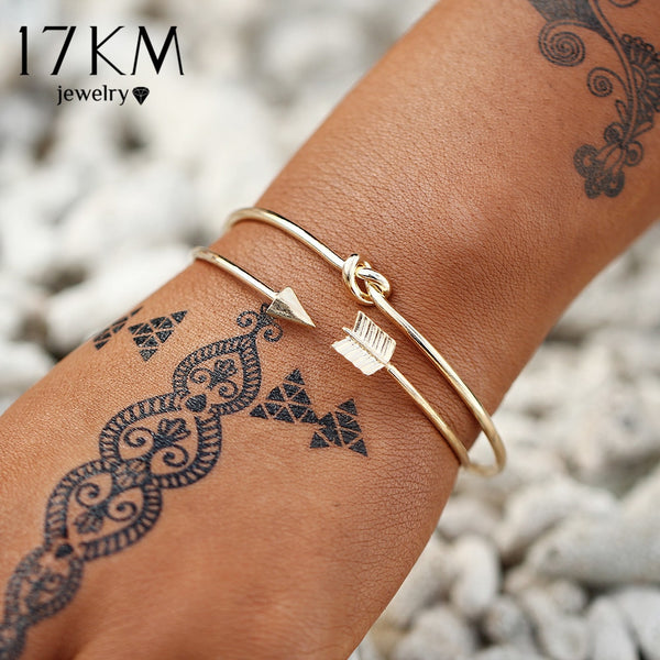 17KM Vintage Gold Color Twisted Bracelets Bangles For Women Crystal Fashion Letter Multilayer Charm Bracelets Bohemian Jewelry