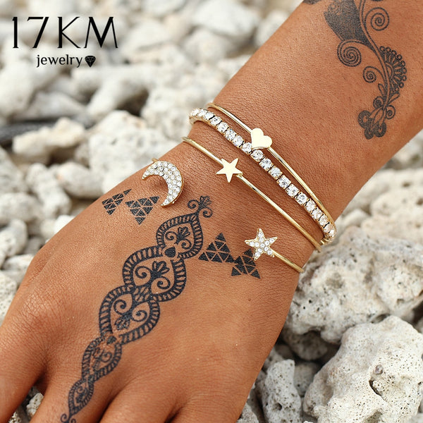 17KM Design Geometric Crystal Star Moon Bracelets Heart For Women Fashion Alloy Gold Color Bangles Jewelry Party Gifts 4 Pcs/Set