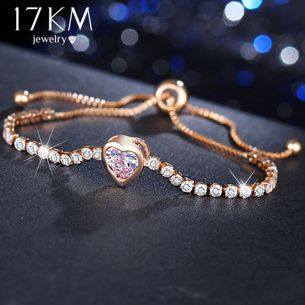 17KM Fashion Heart Cubic Zirconia Bracelet & Bangles For Women Cute Romantic Wedding Rose Gold Silver Color Charm Bracelet Gifts
