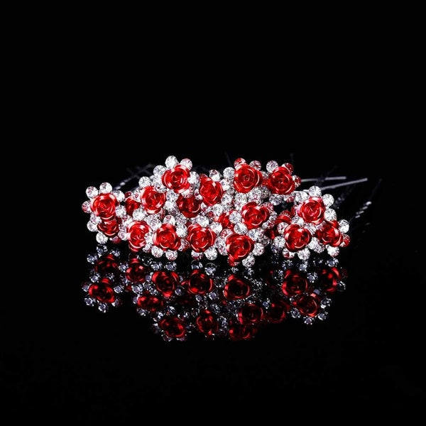 FAMSHIN 20Pcs/Lot Chic Women Wedding Bridal Crystal Rhinestone Rose Flower Hairpins Hair Clips Hair Accessories Jewelry High Qua