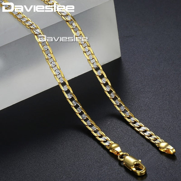 Davieslee Mens Womens Necklace Bracelet Yellow Gold Filled Chain Curb Hip Hop Jewelry Bracelet Necklaces for Women Men 4mm LGN64