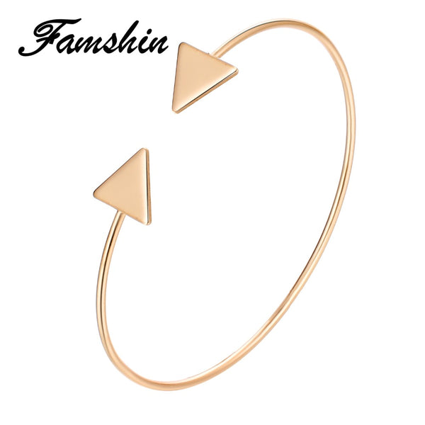 FAMSHIN 3 Color Punk Arrow Bracelets & Bangles Fashion Gold Color Punk Open Bangle For Women Gift Cuff Bracelet Jewelry Gifts