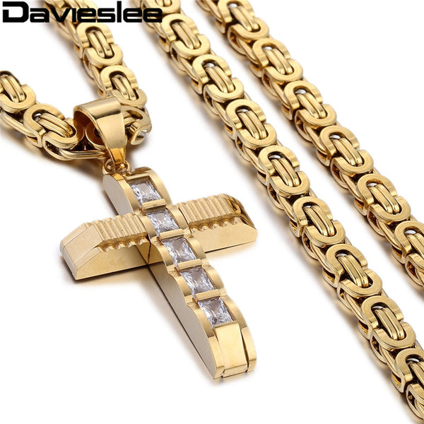 Davieslee Cross Pendant Necklace for Men Stainless Steel Chain Mens Necklaces Paved Clear Rightstones Gold Silver Tone LKP353