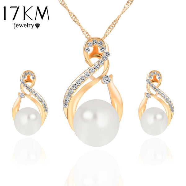 17KM Trendy Simulated Pearl Jewelry Sets For Women Romantic Wedding Gold Silver Color Earrings Necklaces Bijoux collier brincos
