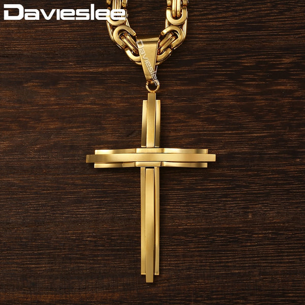 Davieslee Cross Pendant Necklaces for Men Stainless Steel Gold Silver Black Byzantine Link Mens Cross Necklace Chain DLKPM83