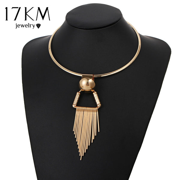 17KM Vintage Gold Color Tassel Choker Necklaces For Women Statement Pendant Necklace Fashion Female Party Jewelry Drop Shipping