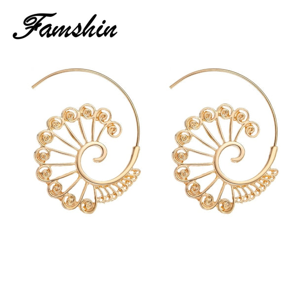 FAMSHIN Brincos Swirl Hoop Earring for Women Gold Color Geometric Earrings Steampunk Style Party Accessories Ethnic Jewelry