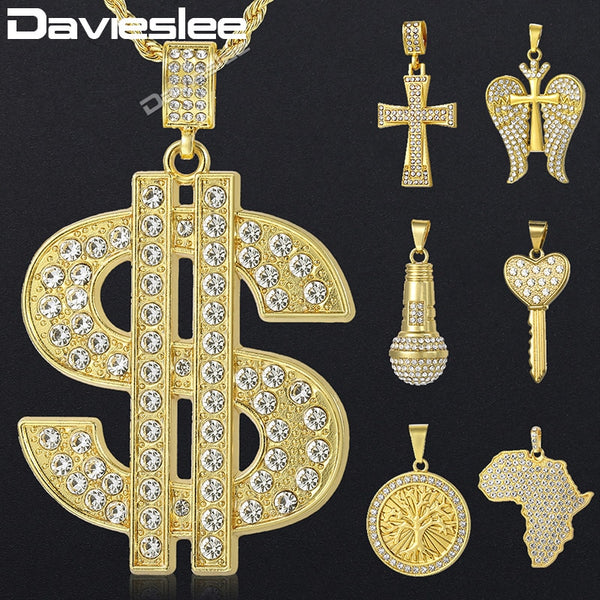 Davieslee US Dollar Africa Map Lion Cross Pendant Necklace for Men Miami Chain Iced Out Paved Rhinestones Hiphop Jewelry DGPM08