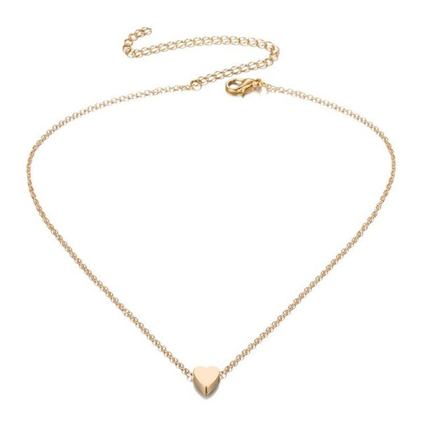 FAMSHIN New Lovely Style 2 layers Gold Color Love Heart Adjustable Necklace Multilayer Chain Choker Necklace For Gift 2 Pcs/Set
