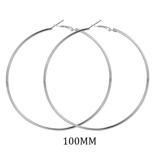 Big Size 90mm 100mm Hoop Earrings for Women Classice Round Silver Gold Circle Women Jewelry Accessory Punk Brincos Pendientes