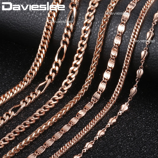 Davieslee 585 Rose Gold Necklace for Women Rolo Curb Snake Chain Trendy Gift Party Jewelry 45-55cm DLGNN1