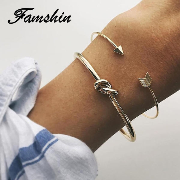 FAMSHIN 2PCS/SET Vintage Cuff Bracelet Bangles for Women Brief Gold Color Open Arrow Knotted Charms Bracelet Jewelry Gift