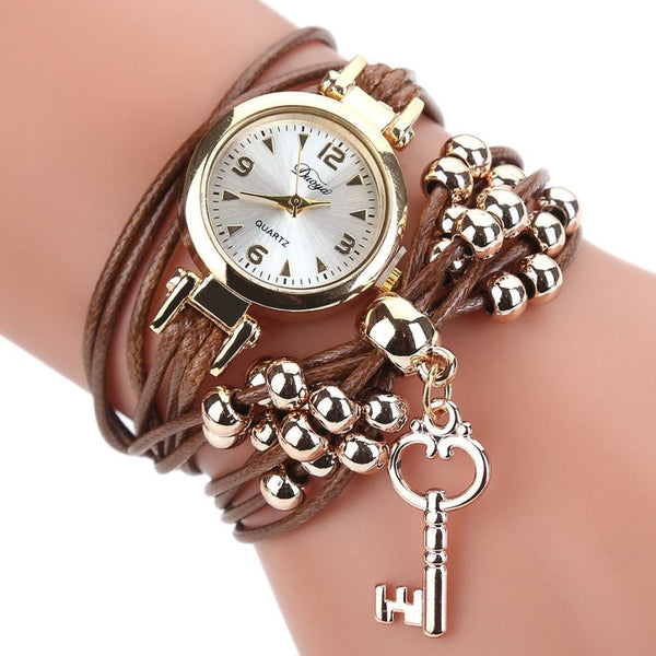 Watch Women Luxury Popular Flower Gemstone Dress Watches Gold Bracelet Halloween Gift Leather Quartz Wristwatches  #D