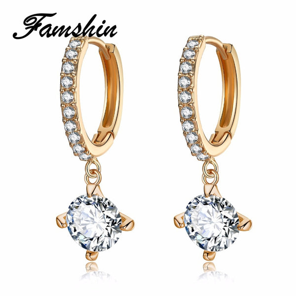 FAMSHIN Charm Brincos Geometric Round Crystal Stud Earrings Gold Color Zircon Pendant Earrings Pendiente Earrings For Women 2018