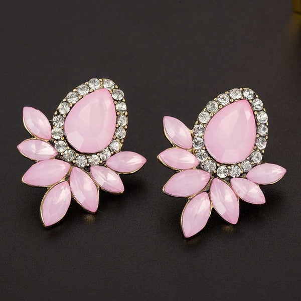 FAMSHIN New Women Fashion Crystal Black White Pink Glass Earrings Resin Sweet Trend With Gems Ear Stud Earrings Jewelry Gifts