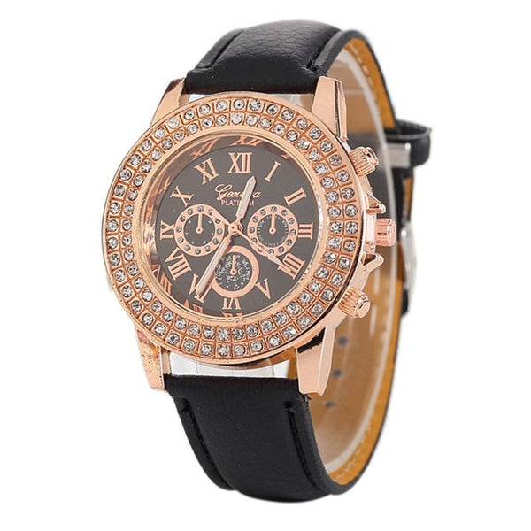 2018 Gold Watch Women Luxury Brand Diamond Dial New Ladies Quartz-Watch Gifts For Girl Leather wrist watches relogio feminino #C