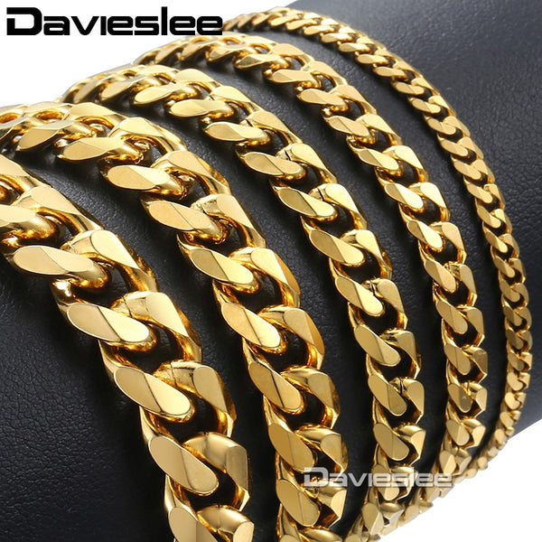 Davieslee Stainless Steel Bracelet for Men Curb Chain Cuban Link Men's Bracelet Black Silver Gold Jewelry 3/5/7/9/11mm DKBM158