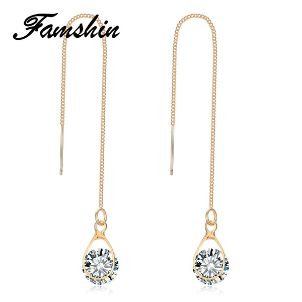FAMSHIN Fashion Crystal Water Drop Earrings for Women Wedding Punk Star Moon Long Tassel Dangle Earring Bar Statement Jewelry