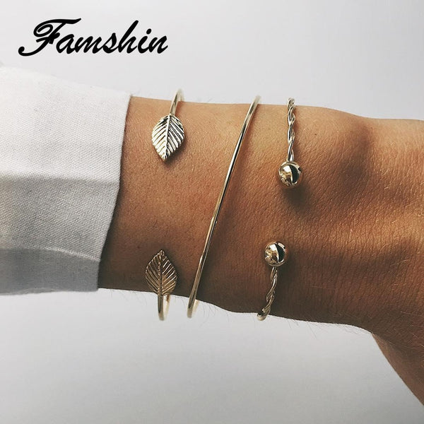 FAMSHIN 3 Pcs/set Fashion Round Leaves Spiral Bangles Women Pretty Girl Punk Style Women Charm Bracelet Set Jewelry Gift NEW