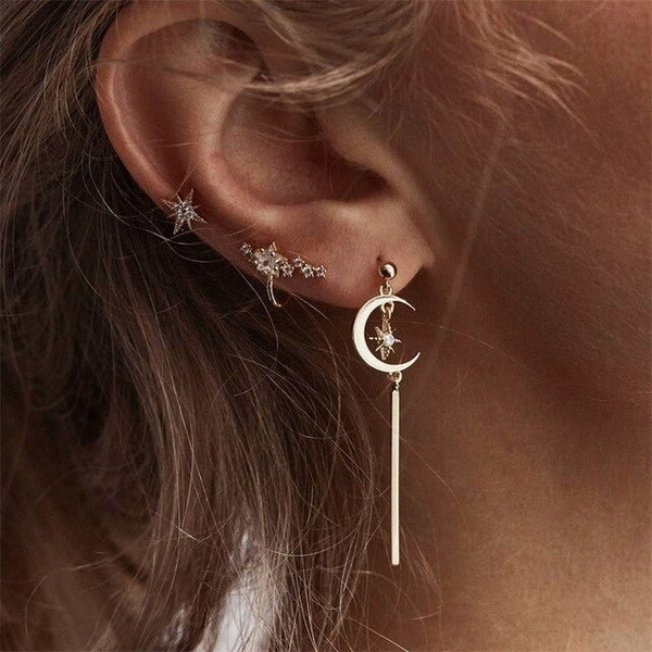 FAMSHIN Fashion Women Gold Silver Color Star Streamlined Tassel Long Dangle Crystal Earrings Women Tassel Earrings Girl Jewelry