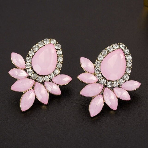 FAMSHIN Boho Fashion Crystal Flower Stud Earrings For Women fashion Jewelry gold sliver Simple design Rhinestones Earring Jewelr