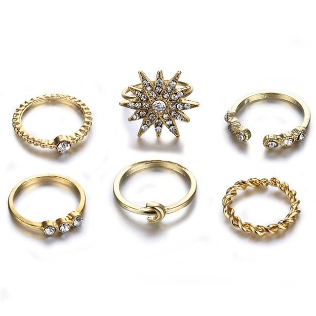 FAMSHIN Fashion Gold Color Moon Crystal Knuckle Ring Set Boho Punk Jewelry For Women Midi Finger Ring Jewelry Gifts New 5Pcs/Set