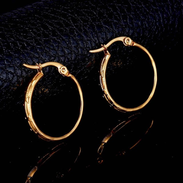 Stainless Steel Gold Silver Big Hoop Earrings for Women Simple Plain Design Korea Style Statement Earrings Gifts Wholesale
