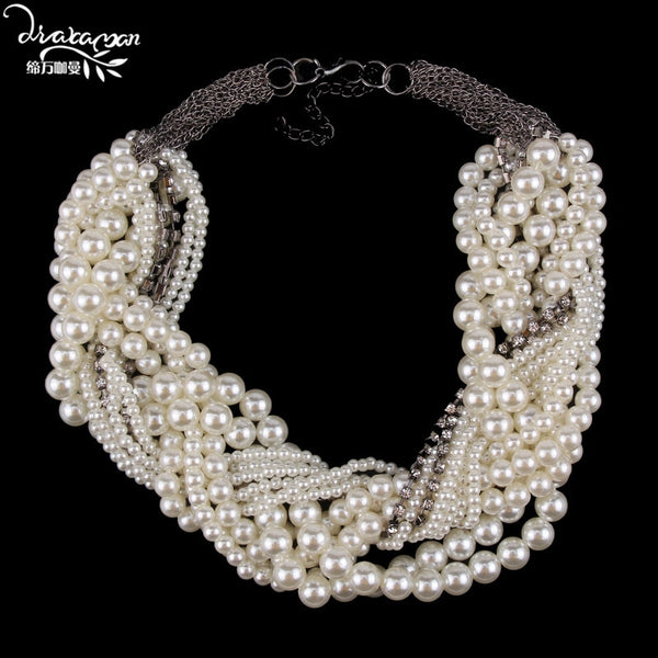 Dvacaman Brand Fashion Simulated Pearl Choker Necklace Women 2018 New Wedding Statement Necklace Party Prom Jewelry Bijoux TT90