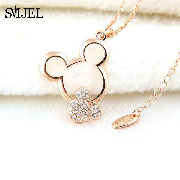 SMJEL Children Cute Zirconia Mickey Pendant Necklace Fashion Jewelry Necklace 2018 Dainty Women Animal Mouse Necklace Christmas
