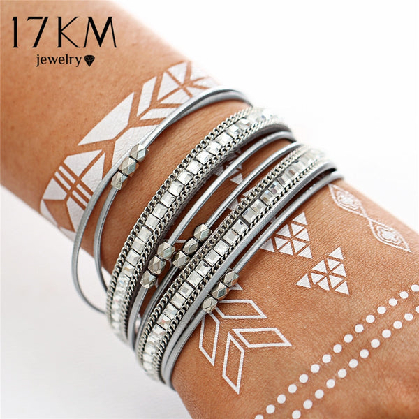 17KM Vintage Multilayer Friendship Leather Bracelets For Woman Men Crystal Couple Bracelet & Bangles 2018 New Statement Jewelry