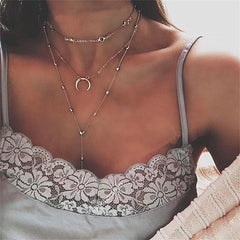 2018 New Multilayer Crystal Shell Moon Pendant Necklaces For Women Vintage Charm Choker Necklace Statement Party Jewelry Gift