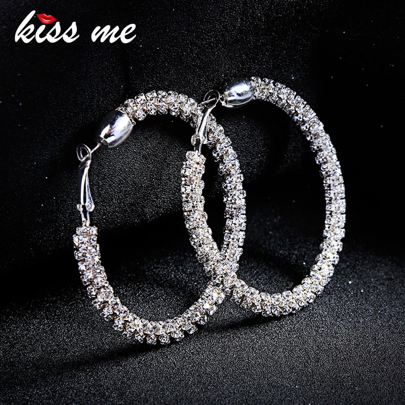 KISS ME Earrings Korean Fashion Oversize Big Circle Crystal Hoop Earrings for Women Brincos Fashion Jewelry Accessories