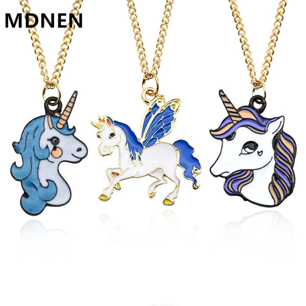 Cute Enamel Cartoon Unicorn Necklace Women Animal Horse Pendant Necklace for Girls Children Kids Party Jewelry Accessories
