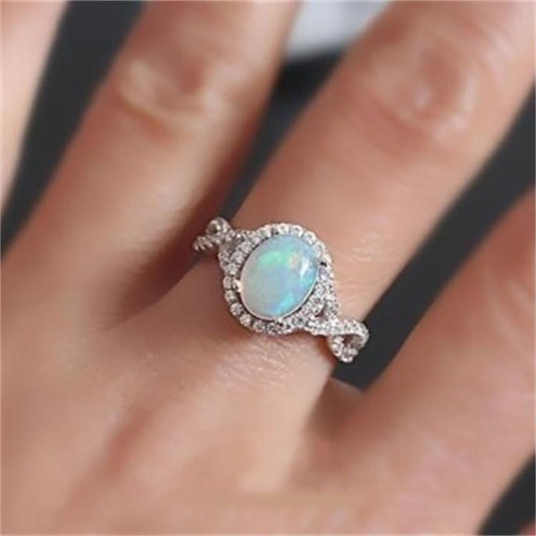 FAMSHIN Bohemian Vintage Silver Color Opal Stone Rings Women Fashion Ring Wedding Engagement Rings Jewelry Dropshipping 2018 New