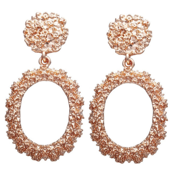 17KM Fashion Geometric Rose Gold Color Drop Earrings For Women New Brincos Hollow Metal Dangle Earring Jewelry Christmas Gift