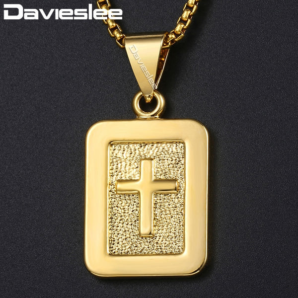 Davieslee Mens Cross Pendant Necklaces Dog Tag Christian Carved Religious Gold Pendants For Women Men Woman Jewelry 2018 DGP309A