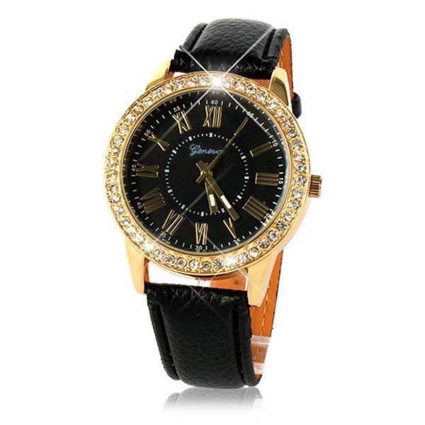 Timezone #301 Luxury Bling Gold Crystal Womens Luxury Leather Strap Quartz Wrist Watch New