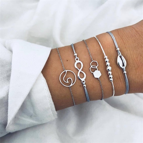 FAMSHIN Bohemian Handmade Weave Heart Long Tassel Bracelet Sets Women 2019 New Grey Rope Chain Bracelets Jewelry Christmas Gift