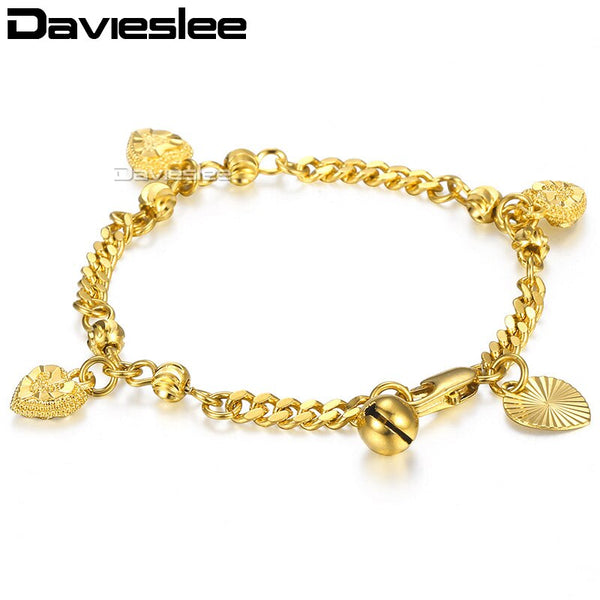 Davieslee Bracelet For Kids Yellow Gold Curb Cuban Link Chain Bangle Heart Bell Charm Bracelet 2018 Baby Jewelry Gift 3mm LGB449