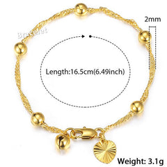Davieslee Gold Bracelet For Kids Rolo Curb Cuban Link Chain Cross Heart Bell Star Charm Bracelet Baby Jewelry 2018 Gifts LGBM102