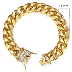 Davieslee Miami Curb Cuban Chain Bracelet for Men Hip Hop Iced Out Gold Bracelets Mens Fashion Jewelry Dropshipping 2019 DGB452