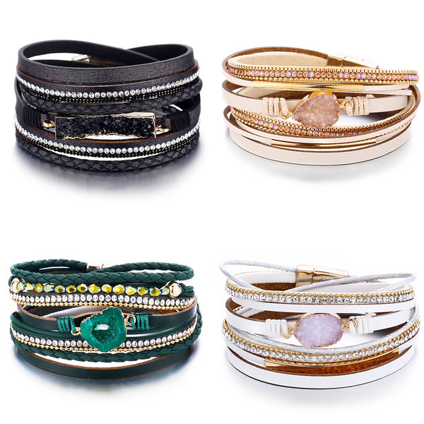 Fashion Stone Bracelet & Bangle Leather Bracelets For Women Boho Multiple Layers Wristband Bracelets Charm 2019 New Jewelry
