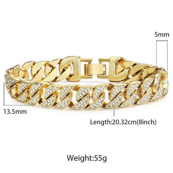 Davieslee Hip Hop Mens Bracelets Iced Out Gold Miami Curb Cuban Chain Bracelet for Men Dropshipping 2019 Fashion Jewelry LGB452