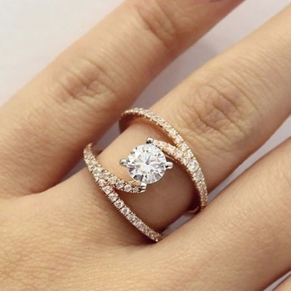 FAMSHIN Fashion Geometry Intersect Crystal Rings For Women Girls Engagement Wedding Rings Female Party Jewelry Gifts 2019